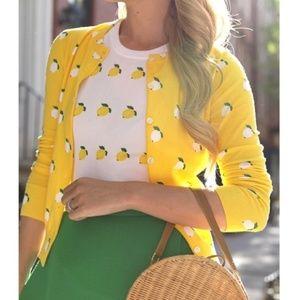 J.CREW Cotton Jackie Cardigan Sweater LEMON Print